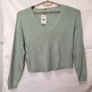 Free People V-Neck Cropped Sweater Top Size M L75